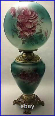 Antique GWTW Hand Painted Green Milk Glass Oil Lamp with WILD ROSES23.5 tall