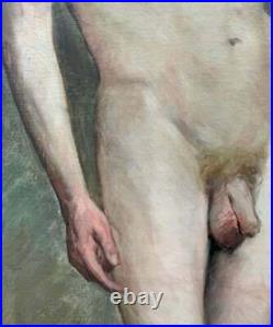 Antique HENRI BRUGNOT Male Academic Nude OIL Painting Exposition Label 1st Prize