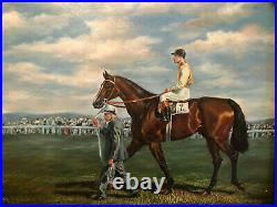 Antique Horse Jockey Oil Painting Equestrian