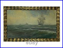 Antique IMPRESSIONIST SHIP Seascape OIL PAINTING Signed