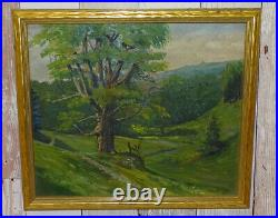 Antique Impressionist Miniature Western Summer Landscape Painting Tree in Meadow