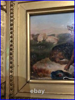 Antique Miniature Gem Painting Oil on Board Working Dogs Gilded Frame England