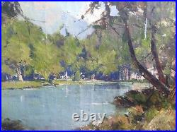 Antique Oil French Impressionist painting Lake in French by Leon LAUNAY
