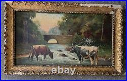 Antique Oil Painting COWS SIGNED Pastoral gilt Frame Date 1924