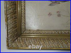 Antique Oil Painting Gilt Frame Sparrows On A Branch 1892