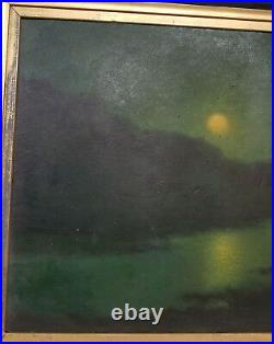 Antique Oil Painting Moonlight Nocturne Signed Illegibly On Board Water Warped