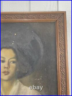 Antique Oil Painting O/C Boston School Portrait Of Young Women with Hat