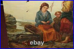 Antique Oil Painting On Canvas Women Cleaning Fish Clams Mussels Nautical