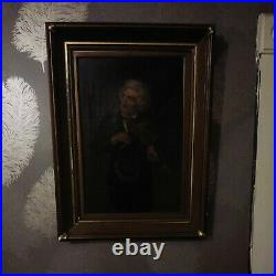 Antique Oil Painting Portrait Musician Old Master Violin Player