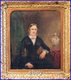 Antique Oil Painting, Portrait of a Lady 19th C. English School, Handsome Art