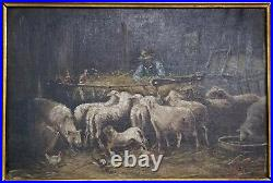 Antique Oil Painting Sheep/Chickens/Farmer In Barn Signed GREAT CARVED FRAME