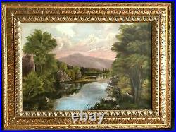 Antique Oil Painting'sunsets On The Lake' Created In 1850th Original Frame Asis