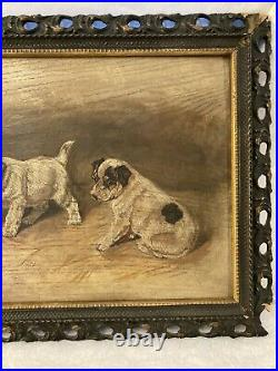 Antique Oil on Board Painting 4 Puppies and a Spider