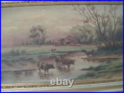 Antique Oil on Canvas of Cows in Pastoral Landscape signed by Nea Oleson 1905
