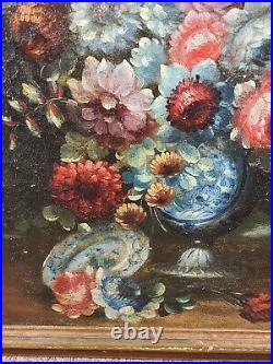 Antique Old Master Floral Still Life Oil Painting Flowers 18th century Italian
