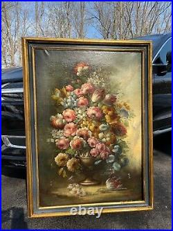 Antique Old Master Floral Still Life Oil Painting Flowers 19th century Italian