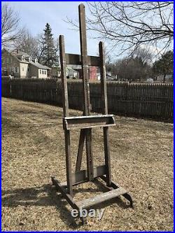 Antique Old Wooden Painters Artist Studio Easel Oil Painting