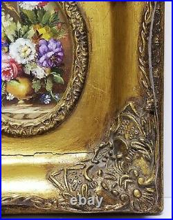 Antique Oval Oil on Canvas Still Life Floral Flowers Painting Ornate Gilt Frame