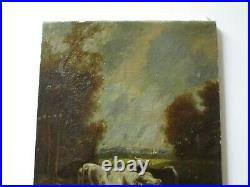 Antique Painting Cow Landscape Signed Cfl 1890 Oil Mystery Artist 19th Century