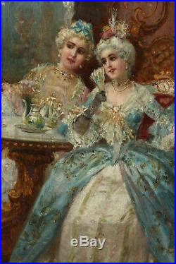 Antique Painting, Oil on Board, Salon Scene, French School, 18th/19th Century