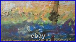 Antique Painting, Signed Claude Monet, Poplars on the bank of a river