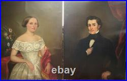 Antique Pair Of American Early 19thC Portrait Oil Painting O/C Husband & Wife