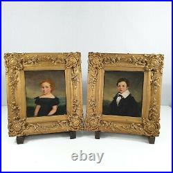 Antique Pair Of Naive Portraits Of A Girl And Boy (Children) Oil On Canvas