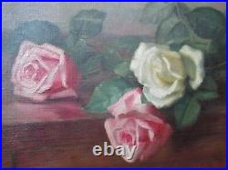 Antique Pink WHITE ROSES Oil Painting Gold FRAME Lstd Charlotte LILLA YALE c1900