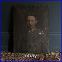 Antique Portrait Of Young Soldier (Oil On Canvas)