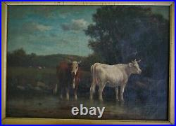 Antique Signed Oil Painting Cows at Pasture William Pearson 1883 Pastoral Canvas