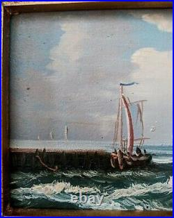 Antique Style Oil Painting Seascape Maritime Sailboats at Sea Signed Framed Art