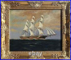Antique T. BAILEY Original Oil Painting on canvas Ship on the Ocean Framed