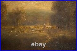 Antique Theodore Rousseau Oil Painting French Landscape Sunset, Signed c. 1850