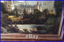 Antique Victorian European Landscape Oil Painting Great Old Castles & Fishermen