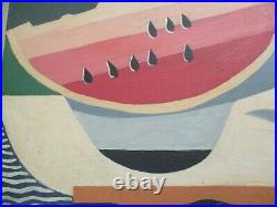 Antique Vintage Oil Painting Mystery Artist Cubist Cubism Abstract Expressionism