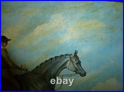 Antique oil on board painting Grey Horse racing Ja. Ganley pinxit equestrian art