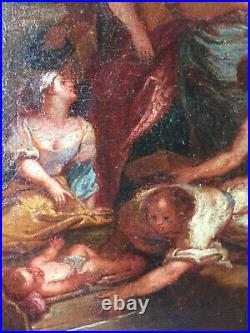 Antique oil painting 18thC Moses saved from waters Follower Charles DE LA FOSSE