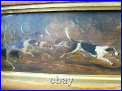 Antique oil painting Hunting dogs framed 1889 Captain Alex McDonnell Moore 89th