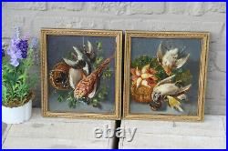 Antique pair oil panel French painting Still life hunting trophy patridge bird