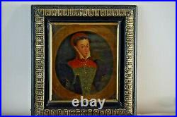 Antique rare Elizabethan Oil painting on board English School Framed
