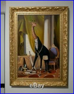 Baroque / Surrealist Antique  Oil Painting of Giraffe in large gilt frame