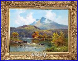 Cattle by a Highland River Antique Oil Painting Alfred de Breanski (18771957)