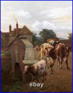 Cattle in a Landscape Antique Oil Painting by William Sidney Cooper (18541927)
