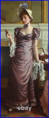 Charles Haigh-Wood Large Fine Antique Genre Oil Painting Interior Figures Signed
