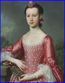 Christopher Steele 1733-1768 Old Master Fine Antique Oil Painting Portrait Lady