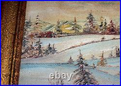 Circa 1940's Oil Painting WINTER WOODS Snowy Landscape & Cabin, Signed Corkum