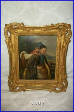 EARLY 19th C. FRENCH OIL PAINTING PEASANT LADY SLEEPING BABY ON TIN ORNATE FRAME