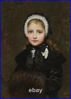 Edwin Longsden Long Fine Antique Oil Painting Portrait of a Young Girl Signed