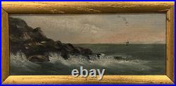 Fantastic early 1900's Antique Maine Seascape Oil Painting