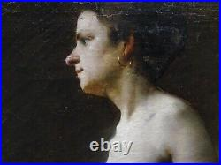 Fine Large 19th Century French Nude Lady Studio Portrait Antique Oil Painting